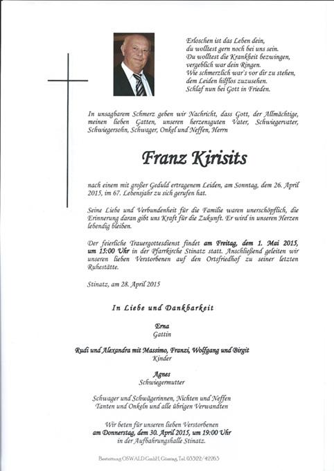 Langjähriger Obmannstellvertreter Franz Kirisits ist verstorben
